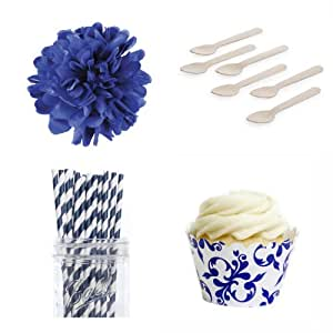Dress My Cupcake Dessert Table Party Kit, Standard, Royal Blue Filigree