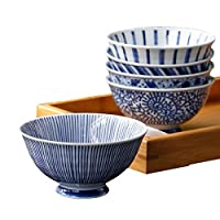 【釉色细腻气韵典雅】 日本进口美浓烧家用陶瓷餐具米饭碗 甜品碗釉下彩陶瓷小碗 高脚防烫手精致饭碗五件套装