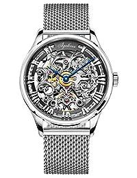 agelocer 艾戈勒 瑞士品牌 316L精钢 80小时超长动能 自动机械男士手表 镂空雕花时尚潮男腕表 5401A9 银白精钢钢带(亚马逊自营商品, 由供应商配送)