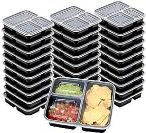 10 盒 - SimpleHouseware 3 层可重复使用的食品级餐具储存盒(36 盎司) 黑色 30 Pack - $0.99/Count KF-002-2