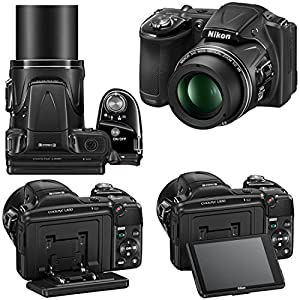 "Nikon COOLPIX L830 16 MP CMOS Digital Camera with 34x Zoom NIKKOR Lens, HD Video & Tiltable 3"" LCD - Black (Import) + 4 AA High Capacity Batteries with Quick Charger + 10pc Bundle 32GB Deluxe Accessory Kit w/ HeroFiber® Ultra Gentle Cleaning Cloth"