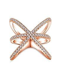 "Benmani 女士双十字方晶锆石镶钻戒指-高级镶钻氧化锆金设计适合女孩 - 时尚优雅娇小爱情戒指饰品,适合周年、订婚、婚礼承诺""CrissCross"" Rose Gold"
