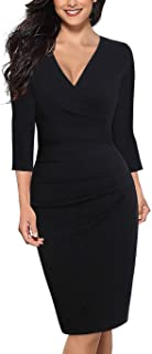 Alice & Elmer 女式棉质经典 V 领七分袖及膝褶皱紧身休闲正式派对工作人造裹身裙