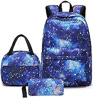 """学生女孩背包青少年书包套装 儿童书包 15 英寸笔记本电脑背包 A-galaxy Constellation 11.8""""x6.7&q"""