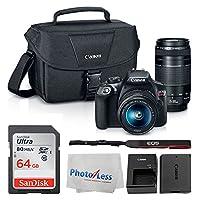 Canon EOS Rebel DSLR T6 相机机身 + 佳能 EF-S 18-55mm IS II 镜头 & EF 75-300mm III 镜头 + 佳能 EOS 单肩包(黑色)+ SanDisk SDXC 64GB 内存卡 + 清洁布 + Ultimate Canon 套装