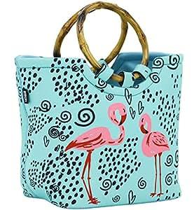 QOGiR 午餐袋手提袋 - 大号可重复使用的隔热氯丁橡胶午餐袋带内袋 - 非常适合女士女孩 粉色(Flamingo)