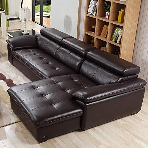 下单赠价值998元真皮圆凳1个ZUOYOU 左右 真皮沙发L型小户型转角组合皮艺沙发头层牛皮现代家具DZY2826 转二件反向深咖色