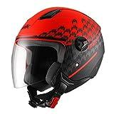 UNIK 男式 Cj-16 喷气头盔,颜色潮流红,L 码