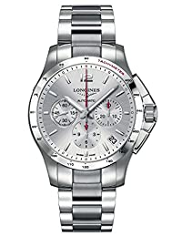 Longines Conquest Automatic Chronograph Steel Mens Watch Silver Dial Calendar L3.697.4.76.6