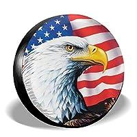 Uktly 轮胎套 - 美国鹰旗帜备用轮胎罩 适用于吉普拖车 RV SUV 卡车 14 15 16 17 英寸车轮,涤纶通用*防水防尘防腐蚀轮罩