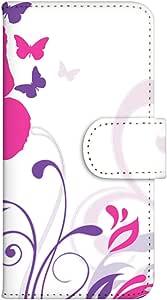 智能手机壳 手册式 对应全部机型 印刷手册 wn-134top 套 手册 蝴蝶图案 花 蝴蝶 蝴蝶 UV印刷 壳WN-PR014361-S AQUOS PHONE es WX04SH B款