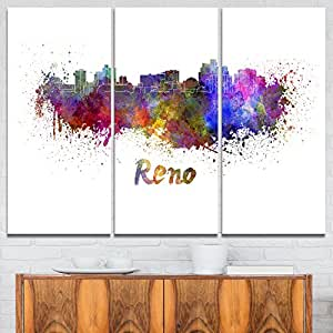 "Designart Reno 天际线-Cityscape 金属墙体艺术-MT6594-48x28-4 面板 Purple/Yellow/Red/Pink 36x28"" - 3 Panels MT6594-3P"