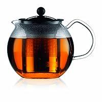 Bodum Assam 玻璃茶壶,带不锈钢过滤器 镀铬色 34-Ounce 1801-16
