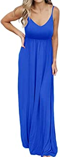 PRIMODA 女式夏季休闲无袖 V 领可调节细肩带超长连衣裙