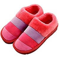 FOYAGE 彩条爆款加厚 长毛绒 包跟 棉鞋 月子鞋加厚吹气底 棉拖鞋 (270(适合39-40的脚), 西瓜红)