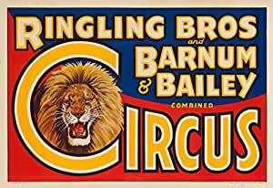 "Ringling Bros and Barnum and Bailey Circus(狮头)复古海报 美国 ""Multi"" 9 x 12 Art Print LANT-62961-9x12"