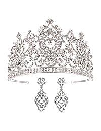 SSNUOY 银色头饰和皇冠 带耳环 适合新娘水钻头饰 舞会 女王皇冠 婚礼首饰套装