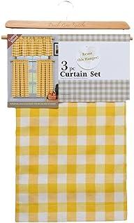 Duck 3 件套格纹、格纹、格纹 35% 棉厨房窗帘套装含 1 个帷幔和 2 层窗帘 黄色 Kingston