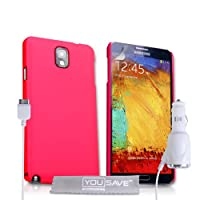 Yousave 配件sa-ea02-z706 °C 混合外壳与车载充电器适用于三星 Galaxy Note 3 桃红色
