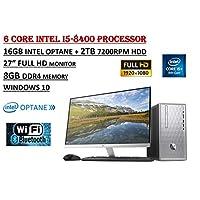 """惠普 Pavilion Flagship 高性能台式机 PC 套装,英特尔酷睿 i5-8400 6 核处理器,8GB DDR4+16GB Intel Optan,2TB 7200 RPM,DVDRW,HP 27er 27"""" 全高清显示器,WiFi+蓝牙,Windows 10"""