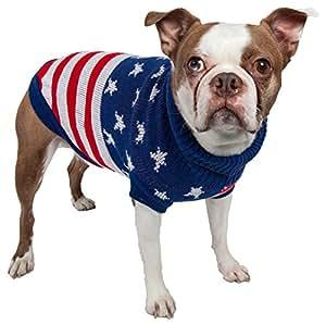 爱国者独立星星厚针织时尚罗纹高领小狗毛衣 红色,米色和蓝色 大