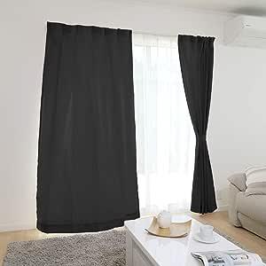 【全30種から選べる】 カーテン 4枚組(ドレープ2枚・レース2枚) 洗える 幅100cm×丈135cm 4枚組 ブラック