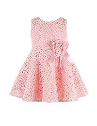 HappyMA 女童可爱连衣裙全穿孔蕾丝花朵无袖套装圆领夏季服装套装