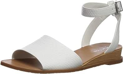 Kenneth Cole REACTION 女士 Jolly 低坡跟凉鞋带踝带平底鞋 白色 6 M US