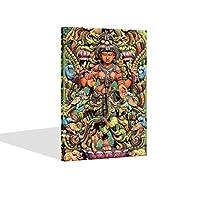 海洋魅力现代帆布艺术墙饰 Krishna 神论神殿 帆布墙体艺术印度教艺术海报装裱,可悬挂,家庭客厅装饰
