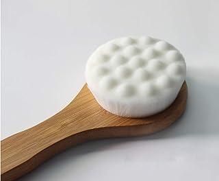 深层清洁竹制洗澡刷 17 英寸长手柄,温和去角质,深毛孔清洁和干刷 - 浴室工具适合男士、女士日常使用