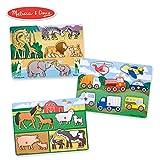 Melissa & Doug 木钉拼图集 - 农场,野生动物园和车辆