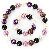 PinkSheep 可爱粗泡糖项链和手链套装 适合女孩 紫色珠子