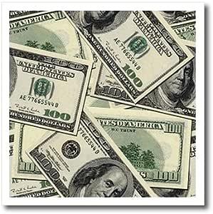 3dRose ht_63043_1 100 美元钞票图案热烫转印适用于白色材料,20.32 x 20.32 cm