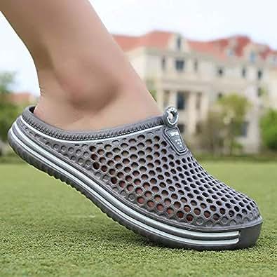 黄贝玲 爆款清仓品质夏季拖鞋2019新款沙滩鞋男士凉鞋洞洞包头凉 灰色 40