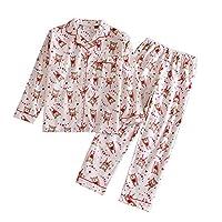 韩德苏 春秋外贸女士睡衣 休闲家居套装 长袖长裤睡衣套装 精梳棉睡衣 白底小熊 (S(胸围100、衣长65))