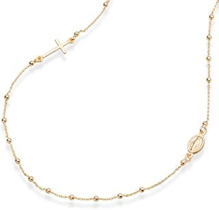MiaBella 18K 金纯银意大利念珠侧链十字架项链,链链 40.64cm,45.72cm,55.88cm 适合女士少女 925 意大利