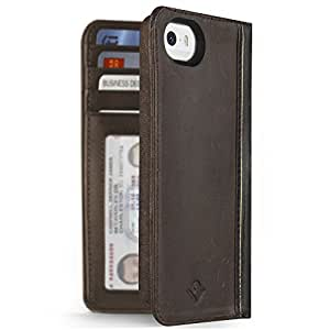 Twelve South BookBook for iPhone 5/5s, ledger brown | Vintage leather iPhone book case and wallet