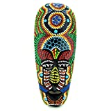 蓝兰花小型非洲面具手工雕刻木质墙壁装饰亚洲部落画 24.13 厘米 Jamaican Magic