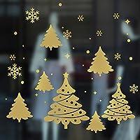 忆美特 2018新款 DIY节日墙贴 迎新年 元旦店铺玻璃门橱窗贴画 圣诞树及美丽雪景 JIN032 (金色, 小号)
