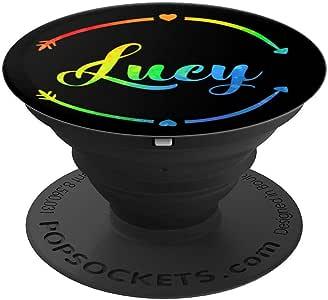 Lucy 个性化定制女孩姓名 - 彩虹黑 - PopSockets 手机和平板电脑握架260027  黑色
