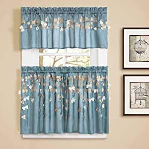 Lush Decor Flower Drops Window Kitchen Tiers, 24 by 29-Inch, Blue, Set of 2