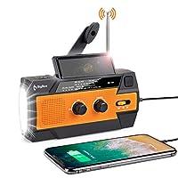 [2020 *] 應急天氣收音機,BigBlue 4000mAh 手動曲柄發電機便攜式 AM/FM/NOAA 天氣收音機,帶 LED 手電筒和運動傳感器夜燈,手機充電器和 SOS 警報,橙色