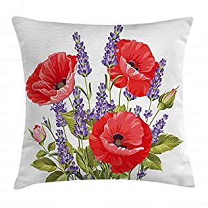 Lavender Throw Pillow Cushion Cover by Ambesonne, Bunch of Lavender and Poppy Flowers Fresh Rustic Botanical Bouquet, Decorative Square Accent Pillow Case, 24 X 24 Inches, Red Violet Olive Green