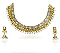 Zaveri Pearls White Pearls Antique South Indian Necklace Set For Women-Zpfk1034