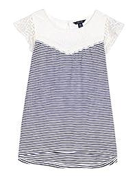 Nautica Girls' Slub Stripe Top with Lace Yoke