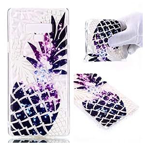 Galaxy Note 9 手机壳,超薄防震软硅胶花卉透明设计,带钻石纹理背面保护 iPhone 手机壳适用于 Galaxy Note 9(2018 版本) 菠萝色