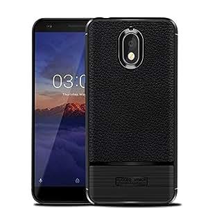 Nokia 3.1 手机壳,Cruzerlite 弹性纤薄手机壳带皮革纹理手柄和减震 Nokia 3.1 黑色