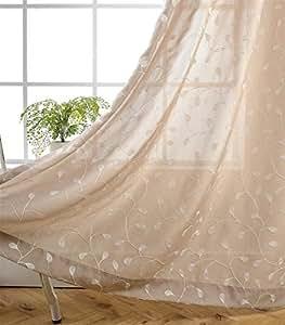 Miuco 花卉刺绣半透明窗帘人造亚麻索环窗帘适用于客厅 Linen 52x63 Inch CHA-FLR-25263-LNN