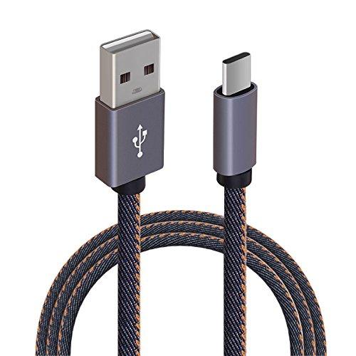 簡単Keda Huawei Mate9データMate9充電線タイプCデータ線両面充電式クリエイティブデニム充電線強いと耐久性のあるトレンドデジタルアクセサリー(1 m、デニム配線)