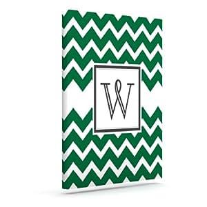 Kess InHouse KESS 原创交织字母 V 形绿色字母 W 户外帆布墙壁艺术,40.64 x 50.8 厘米